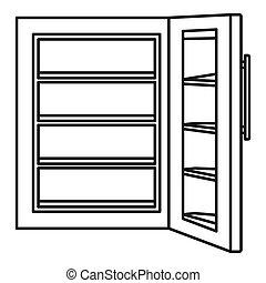 Glass door fridge icon, outline style