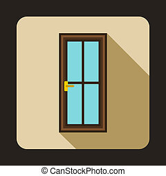 Glass door icon in flat style