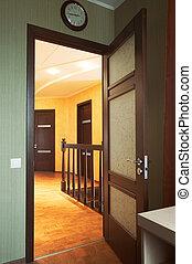 Glass door in a corridor