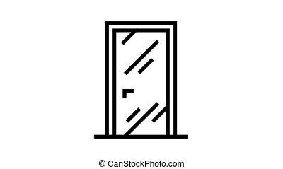 glass door animated black icon. glass door sign. isolated on white background