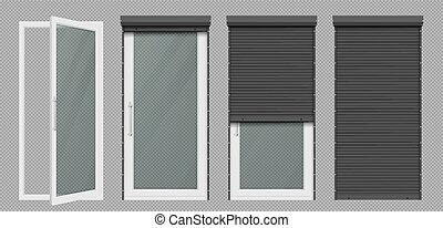 Glass door or window with white rolling shutter