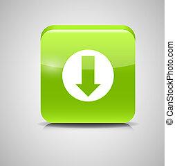 Glass Download Button Icon Illustration