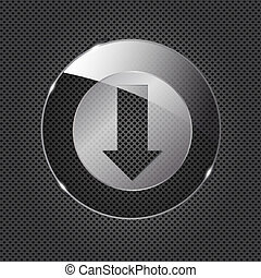 Glass download button icon on metal background. Vector illustration