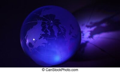 Glass Earth sphere cast shadow with changeable color illumination