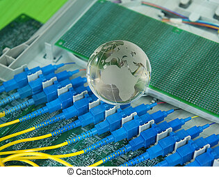 glass earth with fiber cable serve