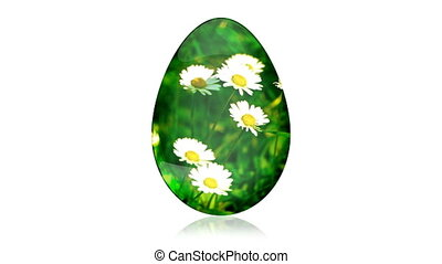 Glass Easter Egg with Camomiles