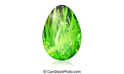 Glass Easter Egg with Grass