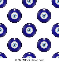 Glass Evil Eye Symbol Seamless Pattern on White Background....