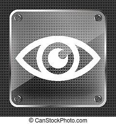 glass Eye icon  on a metallic background - vector illustration