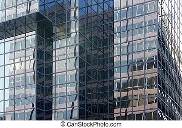 glass facade detail of modern building,