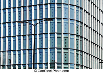 glass facade detail of modern building,