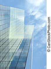 Glass facade of office building
