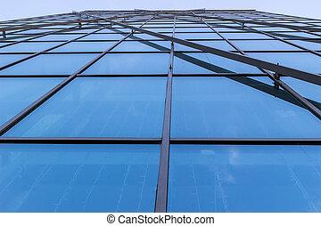 Glass facade of the building