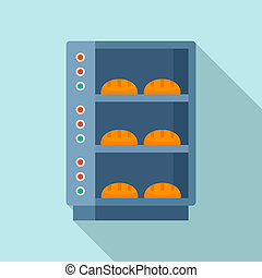 Glass factory oven icon, flat style