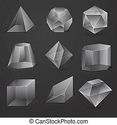 Glass figures - Glass geometrical figures on black...