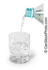Glass filled with a stream of pure spring water. - glass...