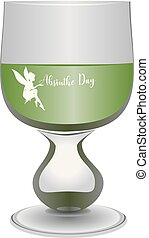 Glass filled with absinthe - A glass filled with absinthe to...