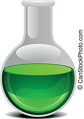 glass flask with green liquid