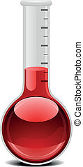 glass flask with red liquid