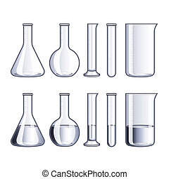 Glass flasks and test-tubes isolated vector - Empty glass...