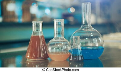 glass flasks in a laboratory