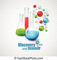Glass flasks with color liquid inside. Vector illustration