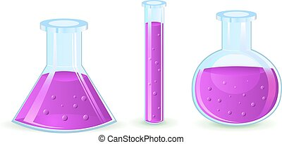 glass flasks with violet substance