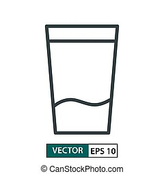 Glass flat icon vector. Line style. Isolated on white. Vector Illustration EPS 10
