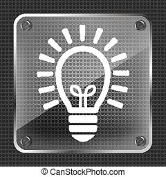 Glass flat lamp bulb icon on a metallic background