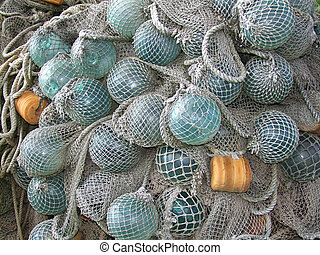 glass float, old fishing nets catch closeup