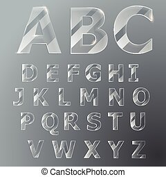 Glass font. Vector Latin alphabet.
