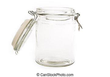 glass food jar close up shot
