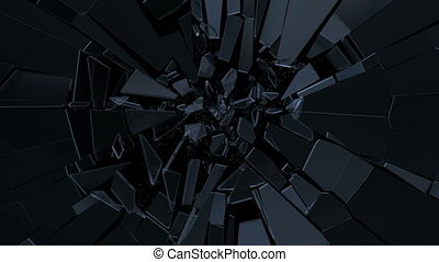 Glass Fracture - Breaking glass animation. Slow motion. ...