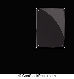 glass frame on black background
