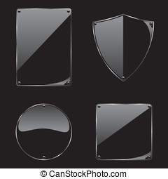 Glass frame on black background collection