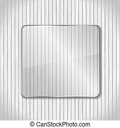 Glass frame on white wooden background, vector eps10 illustration