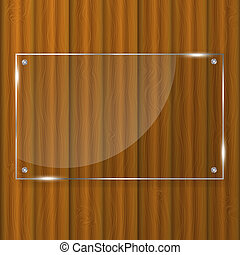 Glass frame on wood background