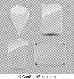 Glass Frame Set. Vector Illustration.