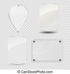 Glass Frame Set. Vector Illustration.