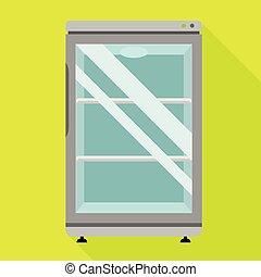 Glass fridge icon, flat style