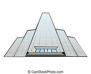 Glass fronted skyscraper, modern office building illustration