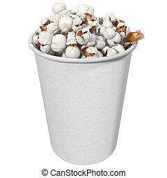 glass full of popcorn, 3d render