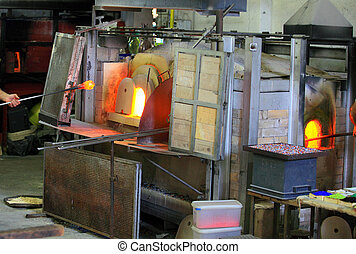 Glass furnace - Decorative glass being manufactured at...