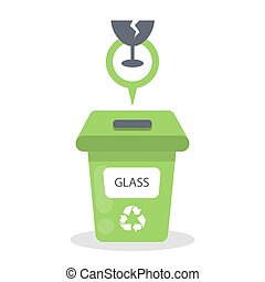 Glass garbage container.