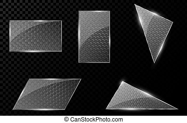 Glass geometric objects with a cyber pattern from honeycombs. A set of blank banners for your projects. Hi-tech in design. Realistic, clear glass. Vector illustration
