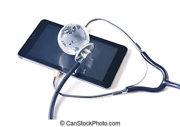 glass globe and stethoscope on the tablet