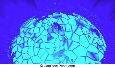 Glass globe distortion digital background, abstract 3d render, computer generated backdrop