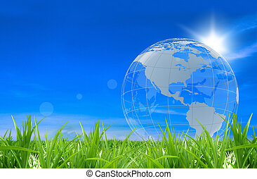 Glass globe in a green field