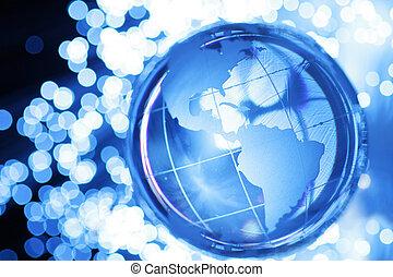 Glass globe in lights