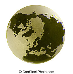 Cut-out Polar view of a glass earth globe with yellow tint